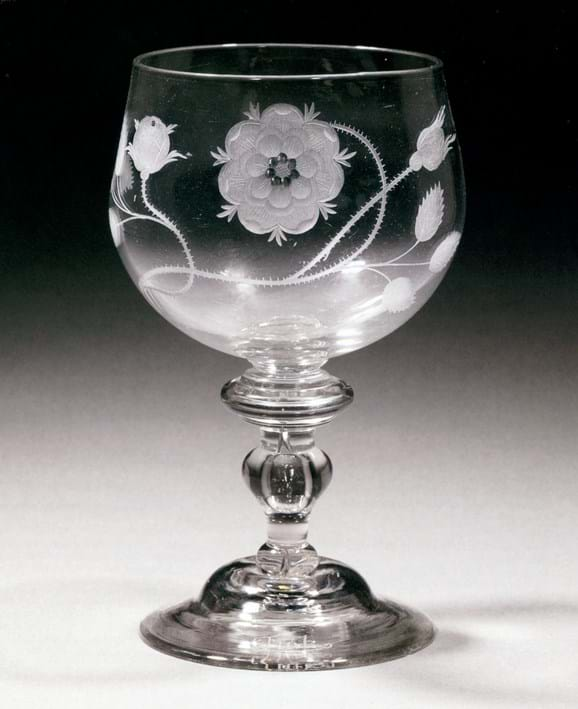Baluster-stem goblet decorated with engraved rose