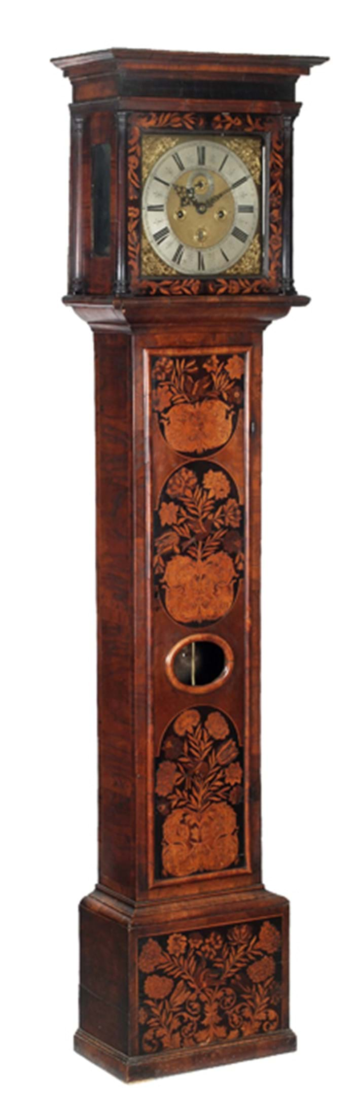 Walnut and floral marquetry clock by Thomas Baley