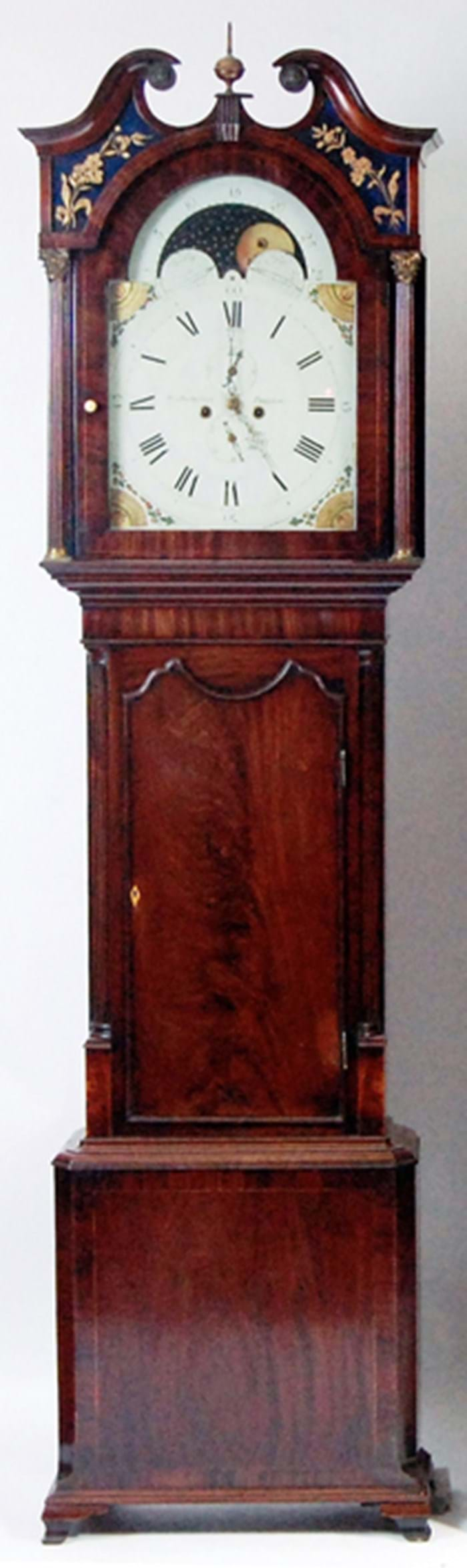 Mahogany eight-day painted dial clock