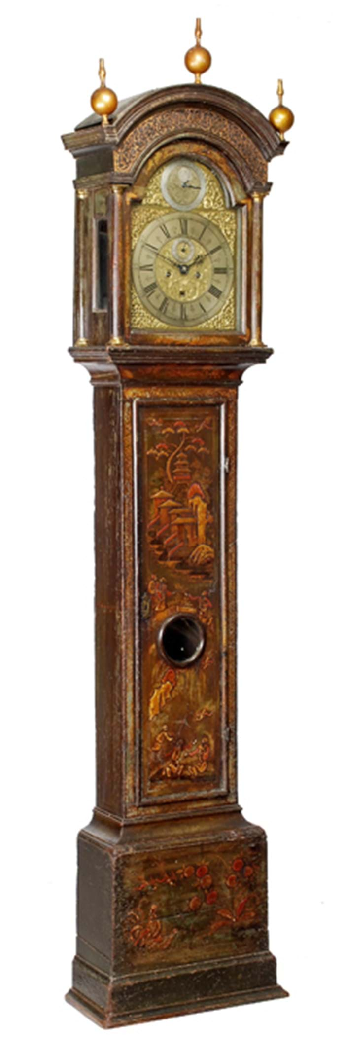 18th century longcase clock in green japanned case