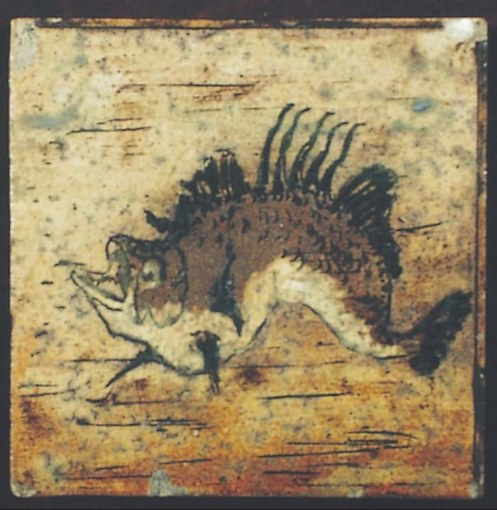 Martin Brothers stoneware tile incised with grotesque scaly fish